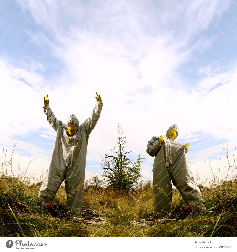Nature Sky Tree Joy Clouds Yellow Grass Gray Art Funny Crazy Mask Suit Stupid Surrealism Rubber