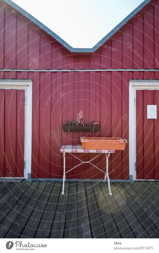 Fischers Fritze Fishery Fishing port Perspective Table Crate Facade Cladding Jetty Car door Wooden floor Wooden wall Wooden house Wooden hut Window box Deserted