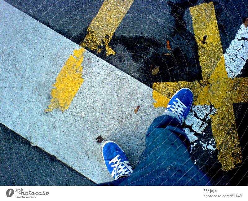 Blue White Yellow Street Feet Line Footwear Transport Pants Traffic infrastructure Direction Self portrait Comfortable