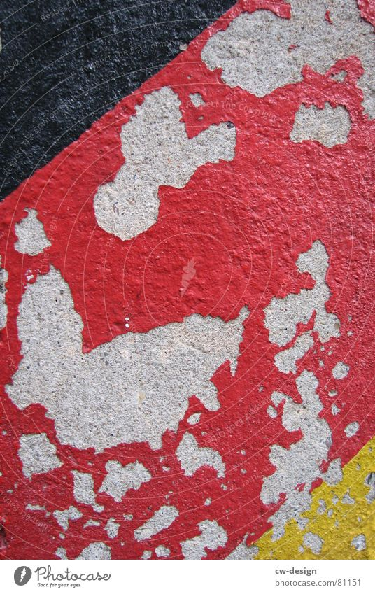 GERMANY ON THE EDGE?!? German Unification Day Reunification Dismantling Colorant Black Red Yellow Plaster Flake off Edge Flag Paintwork Surface coating