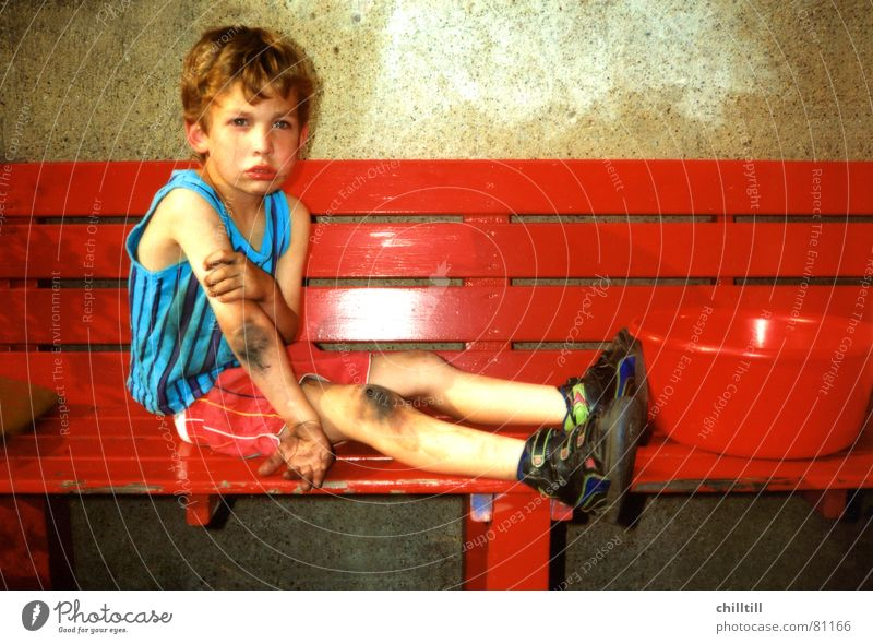 Aua 1992 June Child Red Small Accident Grief Undershirt Summer Blood Ashes Bench Bowl Cry Tears Pain Sadness Boy (child) Stopper omg Wound