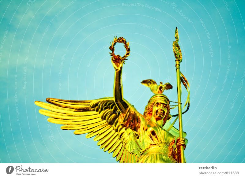 else Victory column Berlin Berlin zoo Monument Landmark Statue Victorian style Goldelse victory statue Glittering leaf gold Success War Angel Wing Flying Wreath