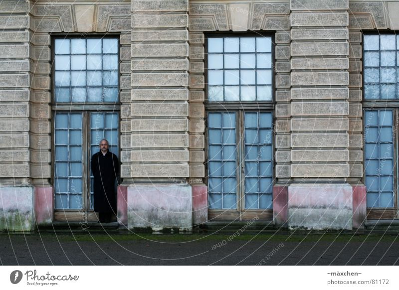 Man Calm House (Residential Structure) Dark Berlin Window Rain Glass Door Castle Historic Coat Noble Motionless Camouflage Doorframe