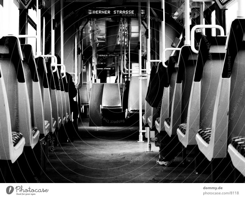 Tomorrow in the train Tram 5 800 Man Transport Railroad straba Line Bernese Seating Black & white photo kaz