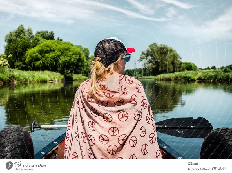 Nature Vacation & Travel Youth (Young adults) Tree Relaxation Young woman Calm Landscape 18 - 30 years Environment Adults Feminine Freedom Idyll Blonde Bushes