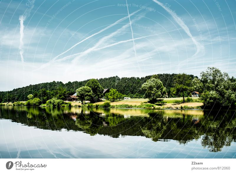 Sky Nature Blue Green Summer Tree Relaxation Calm Landscape Clouds Far-off places Environment Natural Lake Idyll Bushes