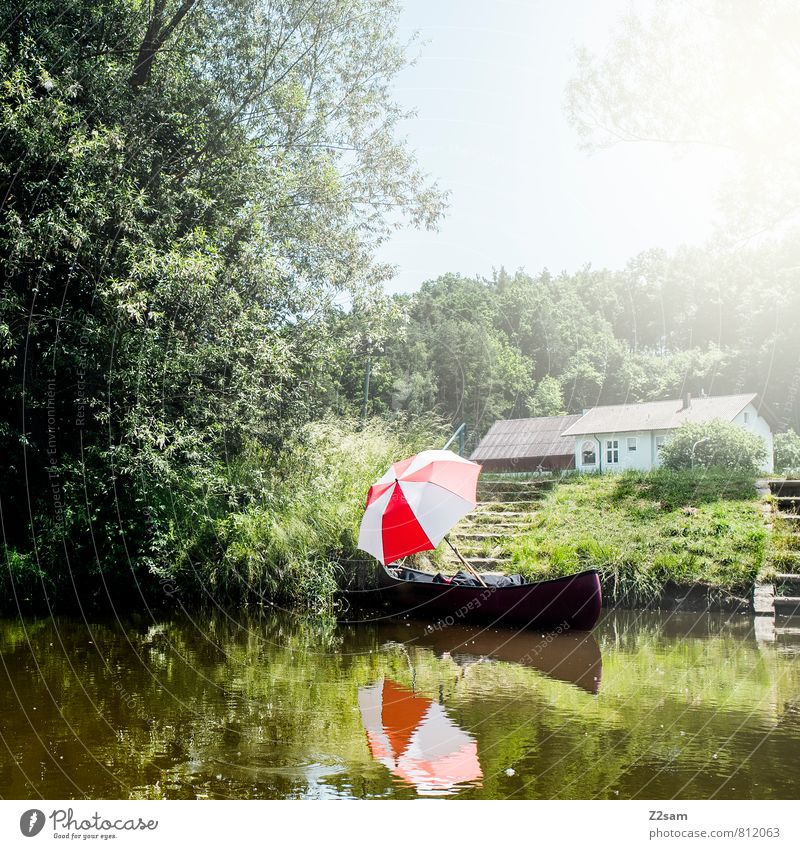 canoe romance Hiking Nature Landscape Sun Sunlight Summer Beautiful weather Tree Bushes Meadow River bank House (Residential Structure) Relaxation Dream Kitsch