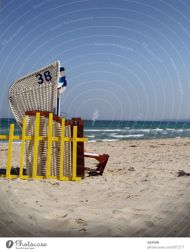 Germany - a winter fairy tale Reticular Summer Beach Coast Vacation & Travel Yellow Beach chair Waves Calm Grating Surf Schleswig-Holstein Sky Joy Seasons
