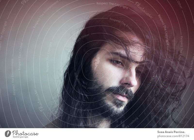 ... Masculine Young man Youth (Young adults) Head Hair and hairstyles Face 1 Human being 18 - 30 years Adults Brunette Long-haired Beautiful Natural Longing