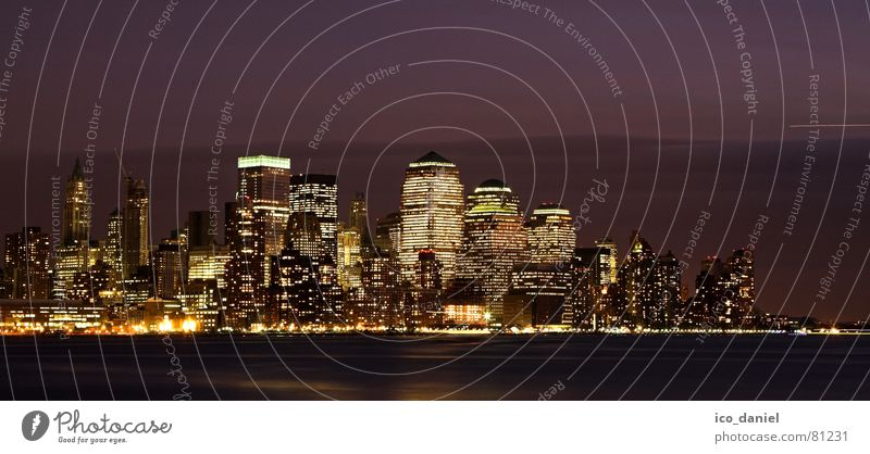Skyline of downtown Manhattan - New York City Energy industry Night sky River Downtown High-rise Building Architecture Glittering Dark Bright Modern Town