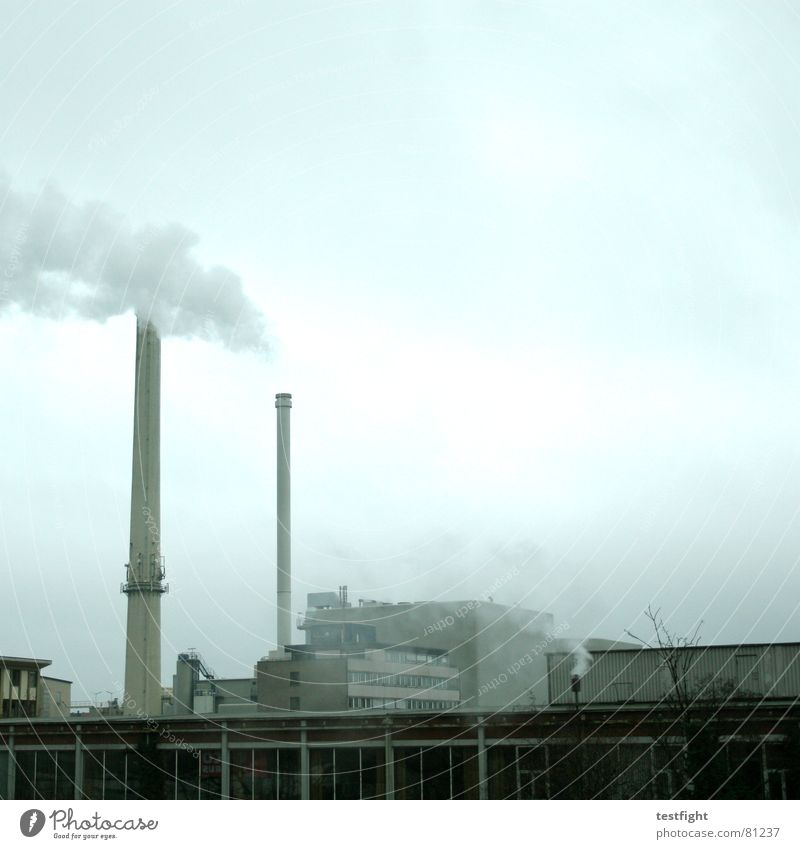Gray Energy industry Tall Electricity Industry Round Industrial Photography Smoke Factory Exhaust gas Chimney Climate change Environmental pollution