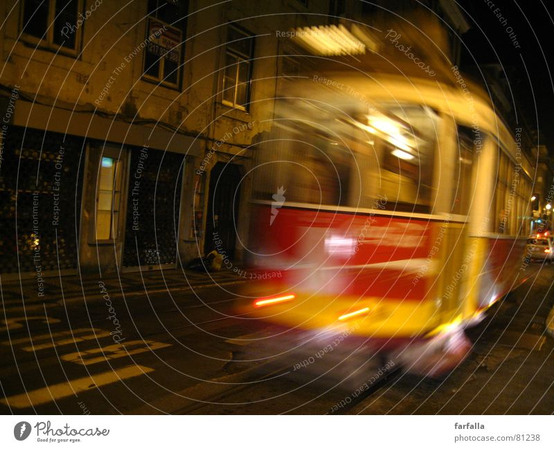 Missed the Tram Night Blur Yellow Red Light Road traffic Asphalt Sleep Traffic infrastructure Bus who spend the night