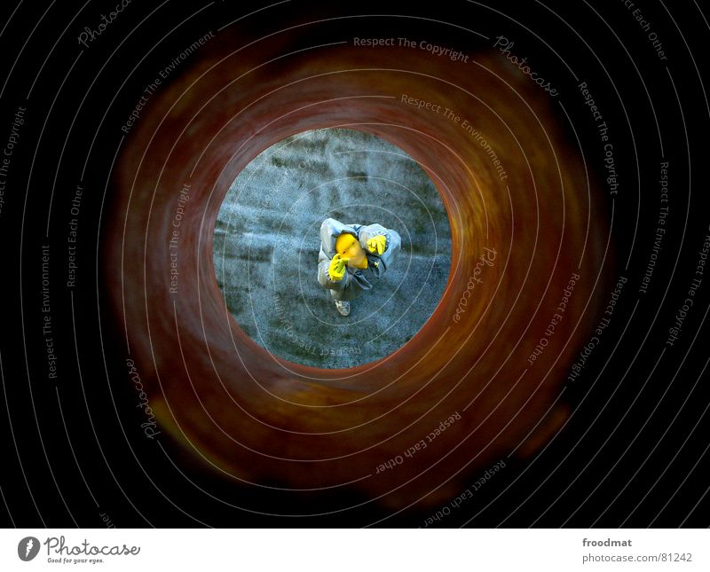 grau™ - tunnelled Gray Yellow Gray-yellow Suit Red Rubber Art Stupid Futile Hazard-free Crazy Funny Joy Vista Tunnel Arts and crafts  looked down Abstract Mask