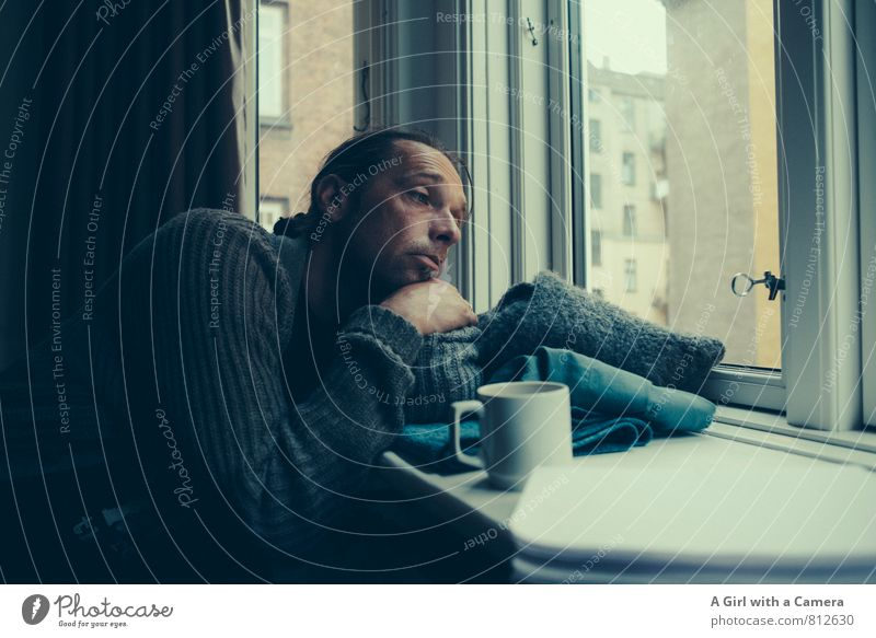 boring as hell Human being Masculine Man Adults Life 1 30 - 45 years Boredom Sadness To have a coffee Shutter Window Subdued colour Interior shot