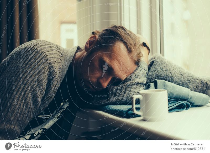snore Human being Masculine Man Adults Life 1 30 - 45 years Sleep Exhaustion Boredom Fatigue Coffee break Window board Interior shot Copy Space right Day Light