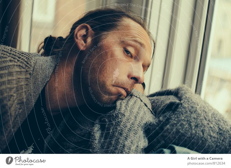 aha Human being Masculine Man Adults Face 1 30 - 45 years Looking Grimace Exasperated Comical Subdued colour Interior shot Copy Space right Day