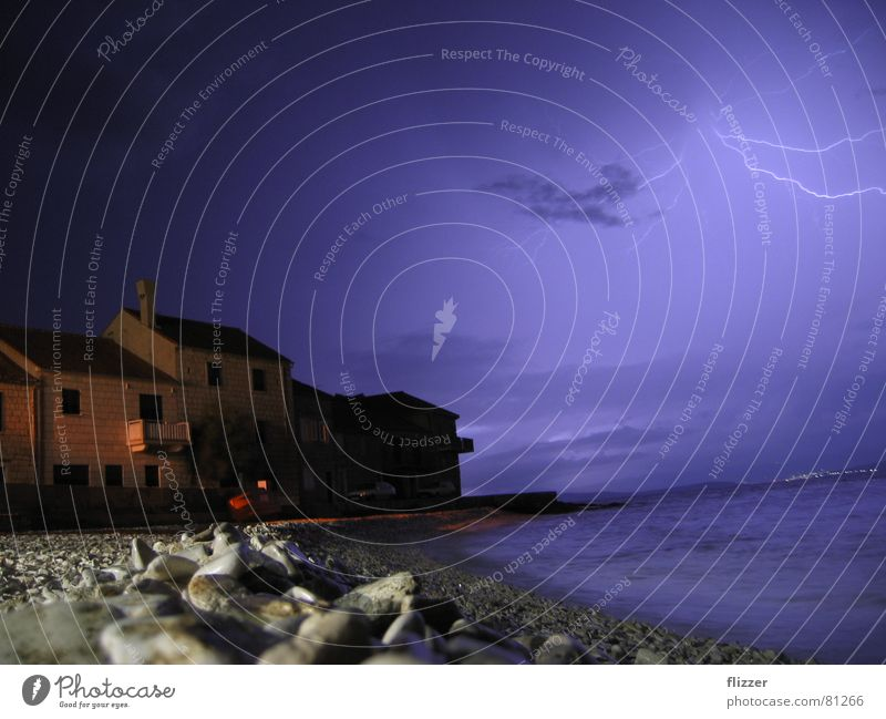 Ocean Night sky Lightning Thunder and lightning Beach Croatia Housefront Split Pebble beach