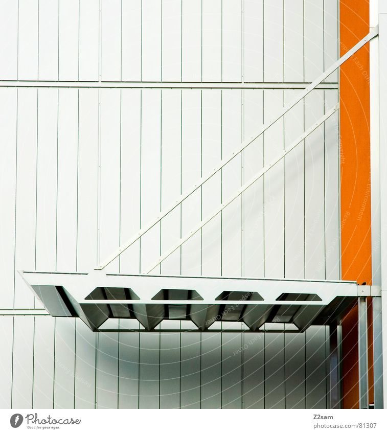 Calm Colour Line Bright Orange Bridge Modern Roof Simple Clean Geometry Graphic Disk Drawbridge