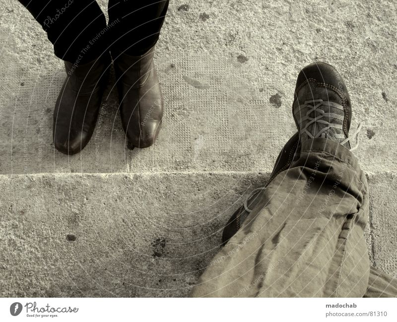Human being Man Vacation & Travel Lanes & trails Gray Legs Couple Feet Brown Footwear Stairs Wait Sit Masculine Trip In pairs