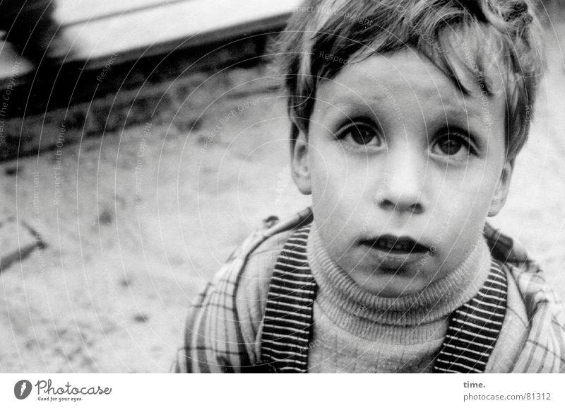 What? Playing Child Boy (child) Eyes Sand Sweater Curiosity Emotions Loneliness Disbelief Sandpit Anorak Mop of curls fuzzy Ask Portrait photograph Looking
