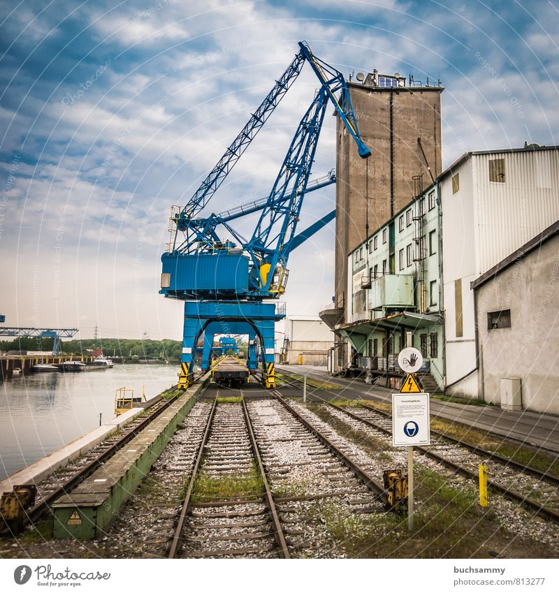 Blue Harbour Crane Workplace Economy Industry Services Machinery Water Clouds Town Port City Industrial plant Facade Logistics Navigation Inland navigation