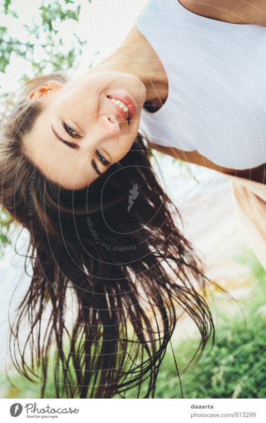 down Nature Youth (Young adults) Beautiful Summer Tree Young woman Landscape Joy Warmth Life Movement Feminine Grass Style Hair and hairstyles Laughter
