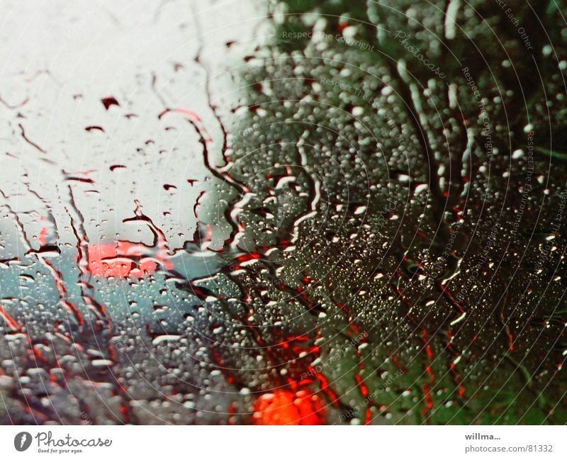 Driving in poor visibility in the rain Rain Rainy weather Weather Windscreen Cold Wet Rear light Vacation & Travel Drops of water Sadness Comfortless