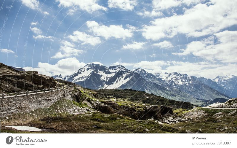 Landscape Environment Rock Weather Tall Beautiful weather Alps Snowcapped peak Switzerland Pass Clouds in the sky