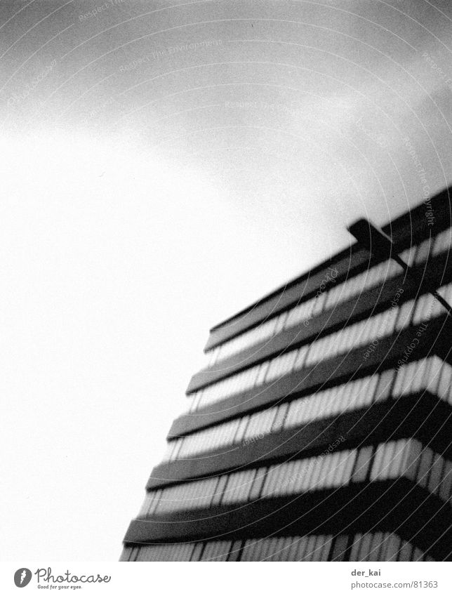 200 motels 1999 Clouds House (Residential Structure) High-rise Lantern Black Blur Architecture Sky Black & white photo grain Lomography Tilt