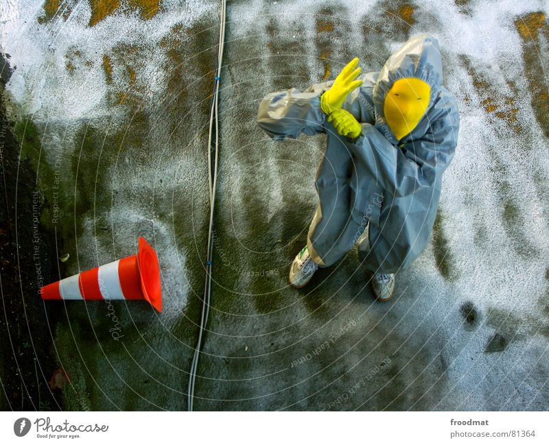 grau™ Gray Yellow Gray-yellow Suit Red Rubber Art Stupid Futile Hazard-free Crazy Funny Joy Bird's-eye view Gloves Traffic cone Arts and crafts  froodmat Mask