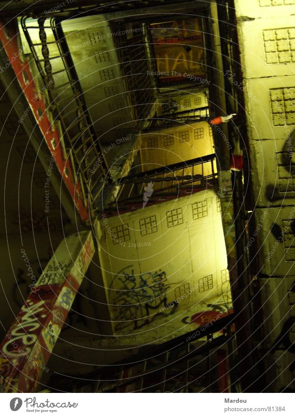 Berlin Graffiti Derelict Shabby Handrail Crack & Rip & Tear Staircase (Hallway) Ornament Vicinity Mural painting
