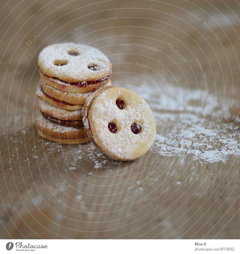 Linz Eye Food Dough Baked goods Candy Jam Nutrition Delicious Sweet Cookie Linz biscuits Linz (Danube) Table Confectioner`s sugar Christmas biscuit Colour photo