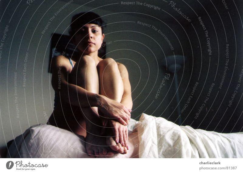 Awake Woman bed sleepy morning Lomography smena