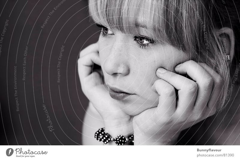 game Woman Feminine Simple Portrait photograph Young woman Blonde Concentrate Black & white photo Bangs Face Lady Dice
