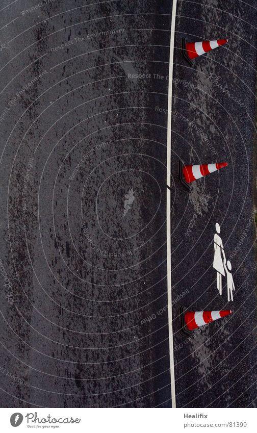 Child Red Black Street Dark Line Wet Signs and labeling Transport Help Safety Mother Asphalt Division Traffic infrastructure Damp
