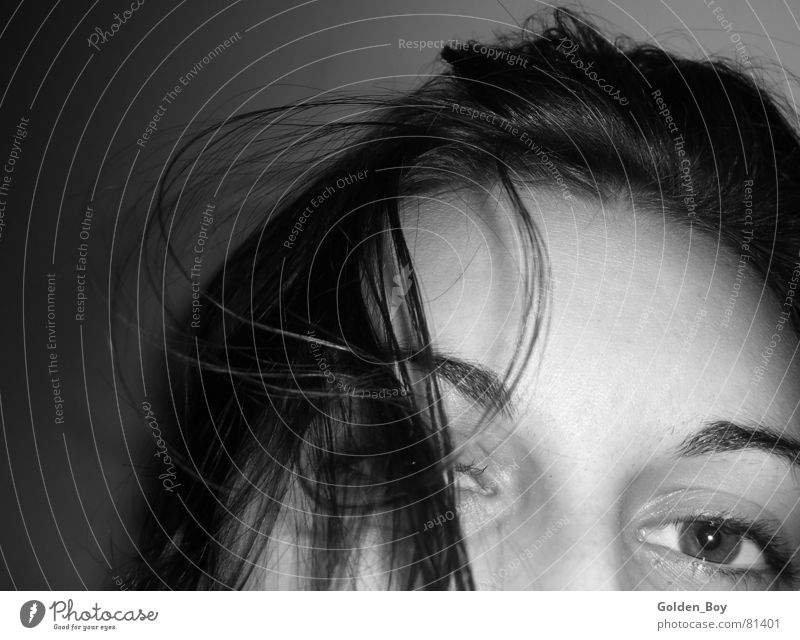 Woman Face Eyes Hair and hairstyles Curl Forehead Young woman Gray scale value Emancipation