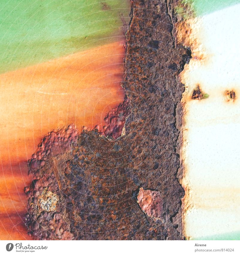 when the paint is off Industry Metal Rust Old Brown Green Orange Transience Destruction Oxydation Multicoloured russet Flake off Container metal container Tin