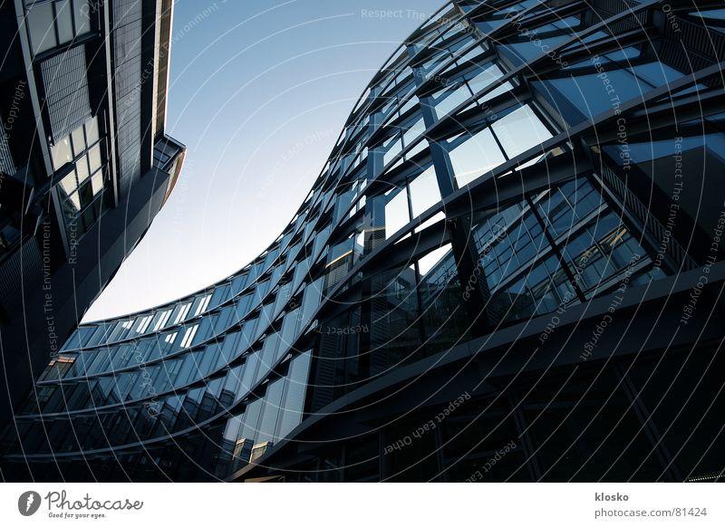Sky Blue City Window Building Business Work and employment Waves Glass Facade Modern High-rise Undulating