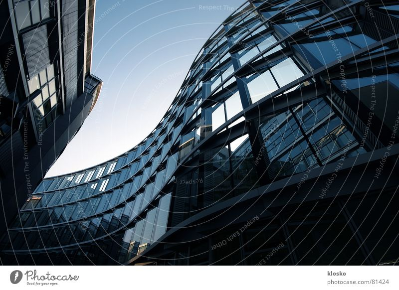 The Wave Window High-rise Facade Building Reflection Waves Undulating Modern Blue Glass Sky Work and employment Business Town Architecture
