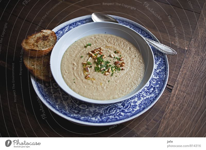 soup Food Soup Stew Parsley parsley root soup Vegetable soup Crockery Plate Bowl Spoon Healthy Eating Fresh Delicious Natural Wooden table Appetite Colour photo