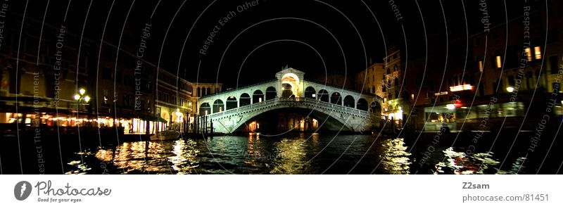 Water Dark Watercraft Bridge Italy Lantern Exposure Venice Rialto Bridge
