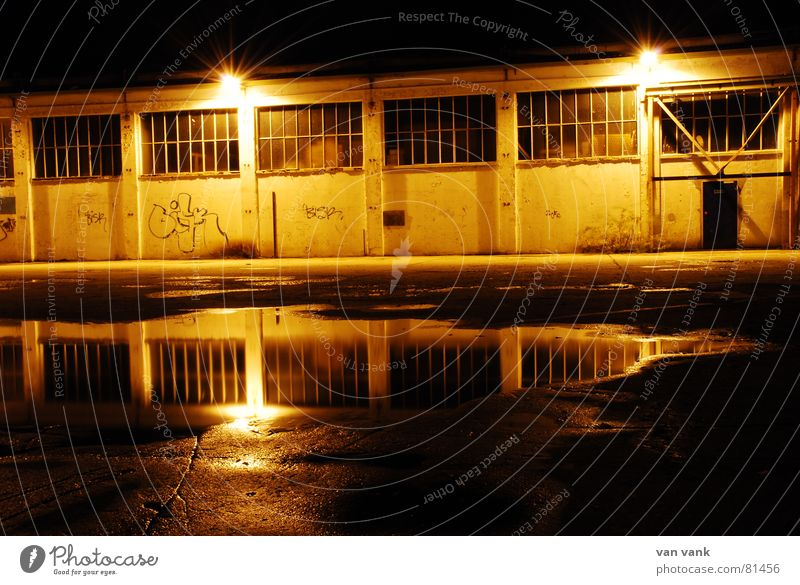 Loneliness Yellow Street Dark Window Graffiti Sadness Lamp Door Glittering Sleep Industry Factory Asphalt Lantern Idea