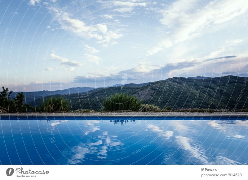 pool Nature Landscape Weather Beautiful weather Warmth Oasis Swimming & Bathing Swimming pool Water Rhône-Alpes region France Blue Forest Hill Colour photo