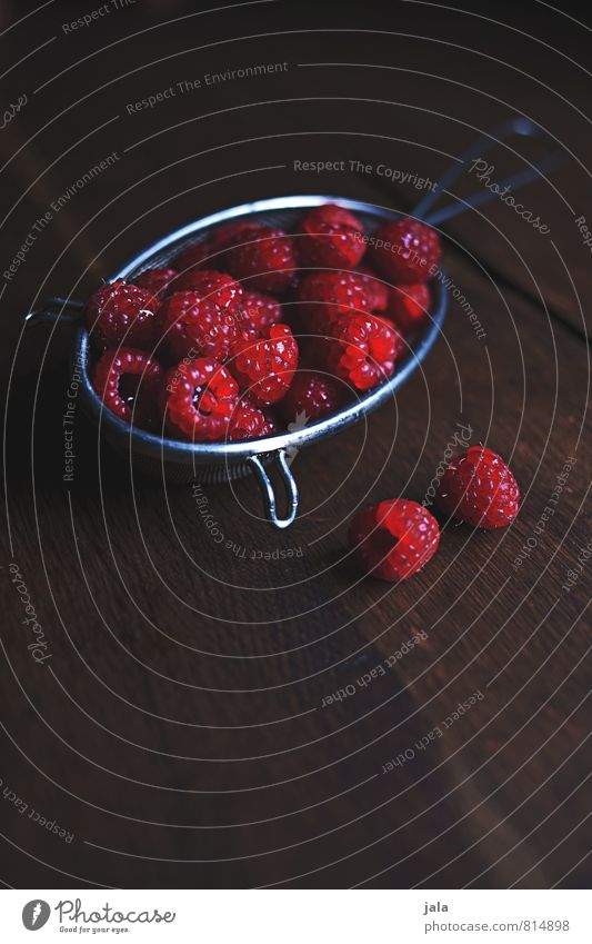 raspberries Food Fruit Raspberry Nutrition Organic produce Vegetarian diet Sieve Healthy Eating Fresh Delicious Natural Appetite Wooden table Vitamin