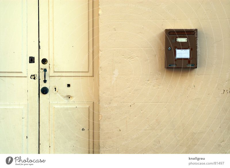 If the mailman has to, uh, knock twice. Mail Locking bar Wooden door Old fashioned Varnished Mailbox Wall (building) Entrance Closed Ochre Yellow