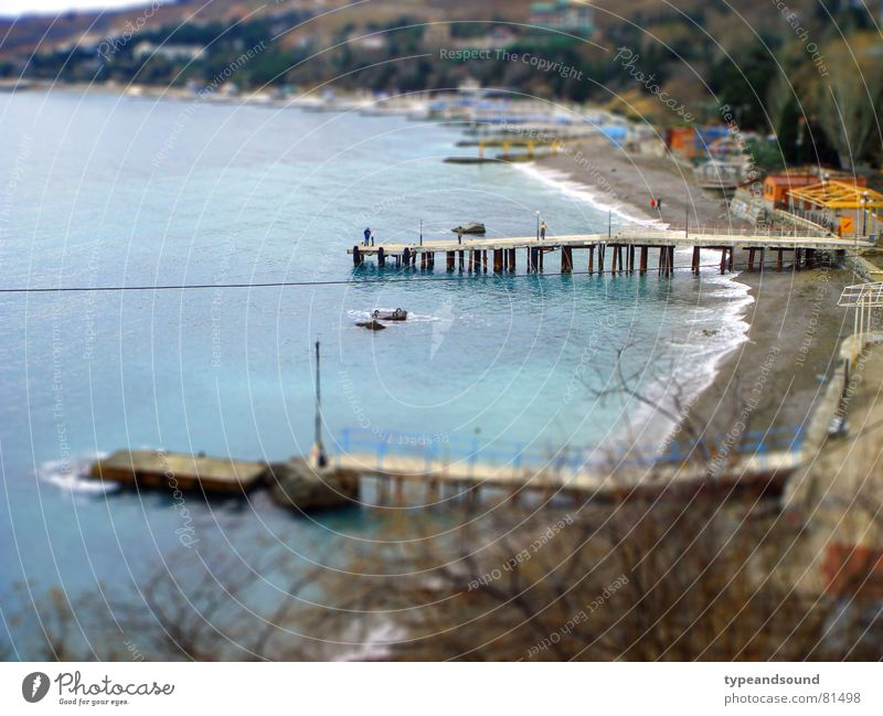 Water Ocean Blue Beach Vacation & Travel Dream Land Feature Bright Coast Leisure and hobbies Harbour Jetty Beautiful weather Really Model-making Miniature