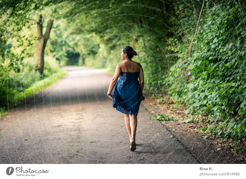 Walk [ 900 ] Human being Young woman Youth (Young adults) 30 - 45 years Adults Nature Landscape Summer Tree Grass Bushes Street Dress Footwear Black-haired