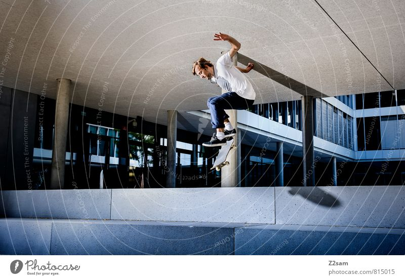Ollie Style Sports Funsport Skateboarding Masculine Young man Youth (Young adults) 18 - 30 years Adults Town Places Manmade structures Building Architecture