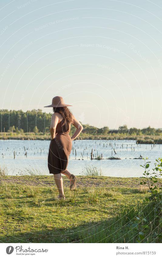 Human being Woman Nature Beautiful Green Summer Landscape Adults Feminine Grass Natural Lake Going Brown Horizon Footwear