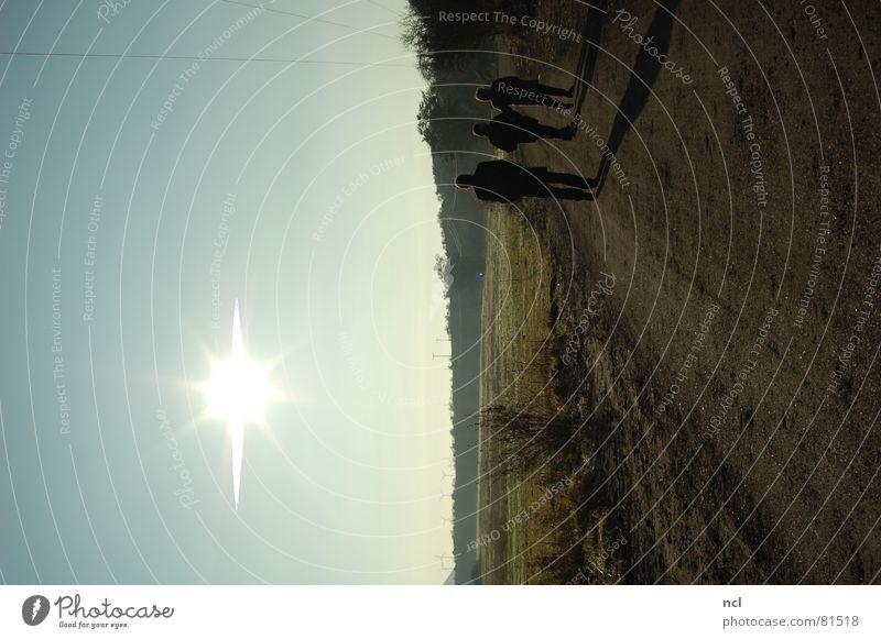 Human being Sky Tree Sun Blue Winter Street Cold Group Lanes & trails Ice Bright Field Horizon 3 Fresh